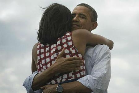 obama abraza michelle