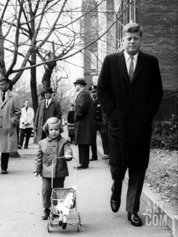 JFK walking with daughter