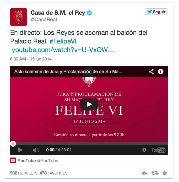 Twitter Casa de S.M. el Rey 2