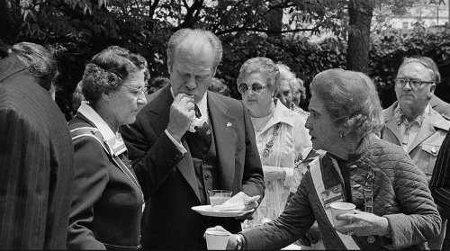 Gerald Ford eating a tamale