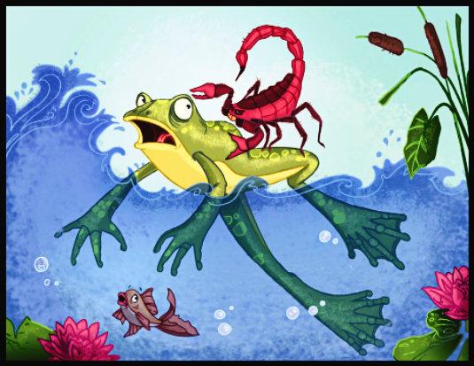 el escorpion y la rana