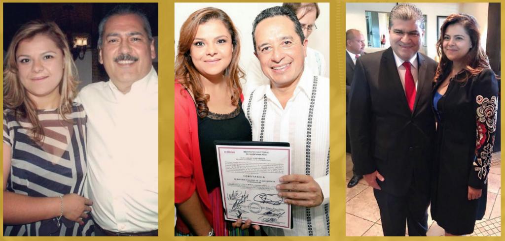 Giselle Perezblas con Manlio Fabio Beltrones, expresidente nacional del PRI; Carlos Joaquín González, gobernador de Quintana Roo y Miguel Riquelme Solís, gobernador de Coahuila.